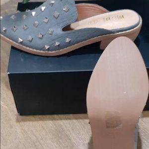 Mi.iM Silver Studded Leather Slip-On Mule